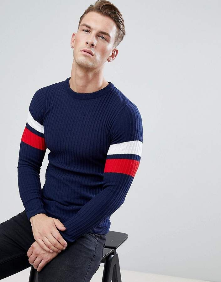 027a6985e boohooMAN Muscle Fit Ribbed Sweater With Arm Stripe In Navy ...