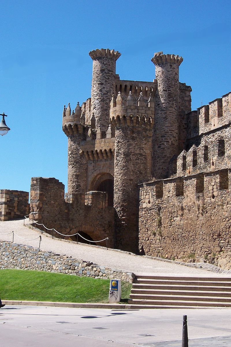 Facade of the Templar Castle, built in the 12th century, Ponferrada, Spain. It is the last major town on the French route of the Camino de Santiago before it reaches Santiago de Compostela.