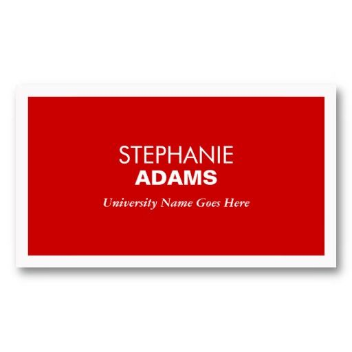 MODERN RED BUSINESS CARD FOR COLLEGE STUDENTS Zazzle