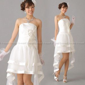 二次会ドレス ウエディングドレス リボンがCuteなイレギュラーヘムショートドレス Aラインミニドレス