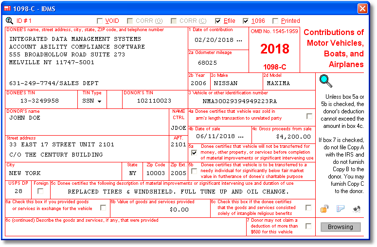 1098C Software EFile TIN Matching Print and Mail