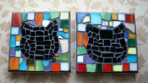 Set of 2 CoastersMosaic Kitty Catceramic by PhoenixAndFoxMosaics