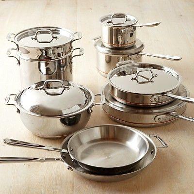 All Clad Copper Core 15 Piece Cookware Set Williamssonoma