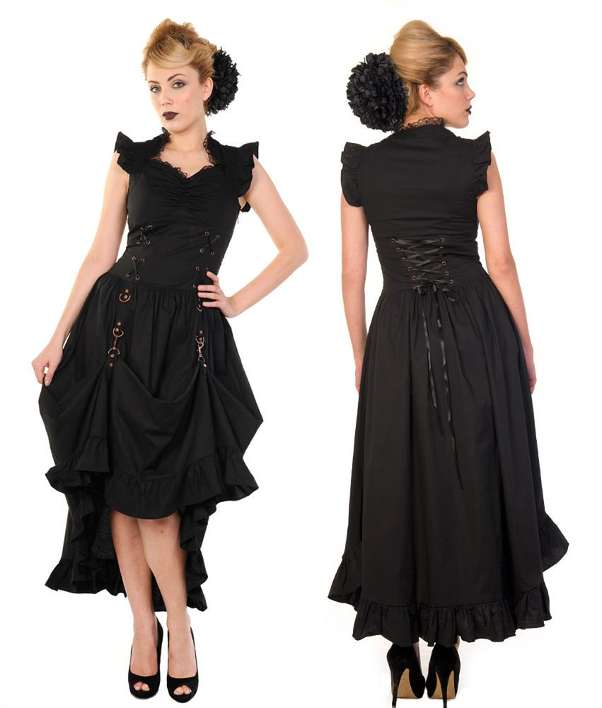 BANNED Kleid Steampunk Gothic Maxi Dirndl Dress Victorian LARP ...