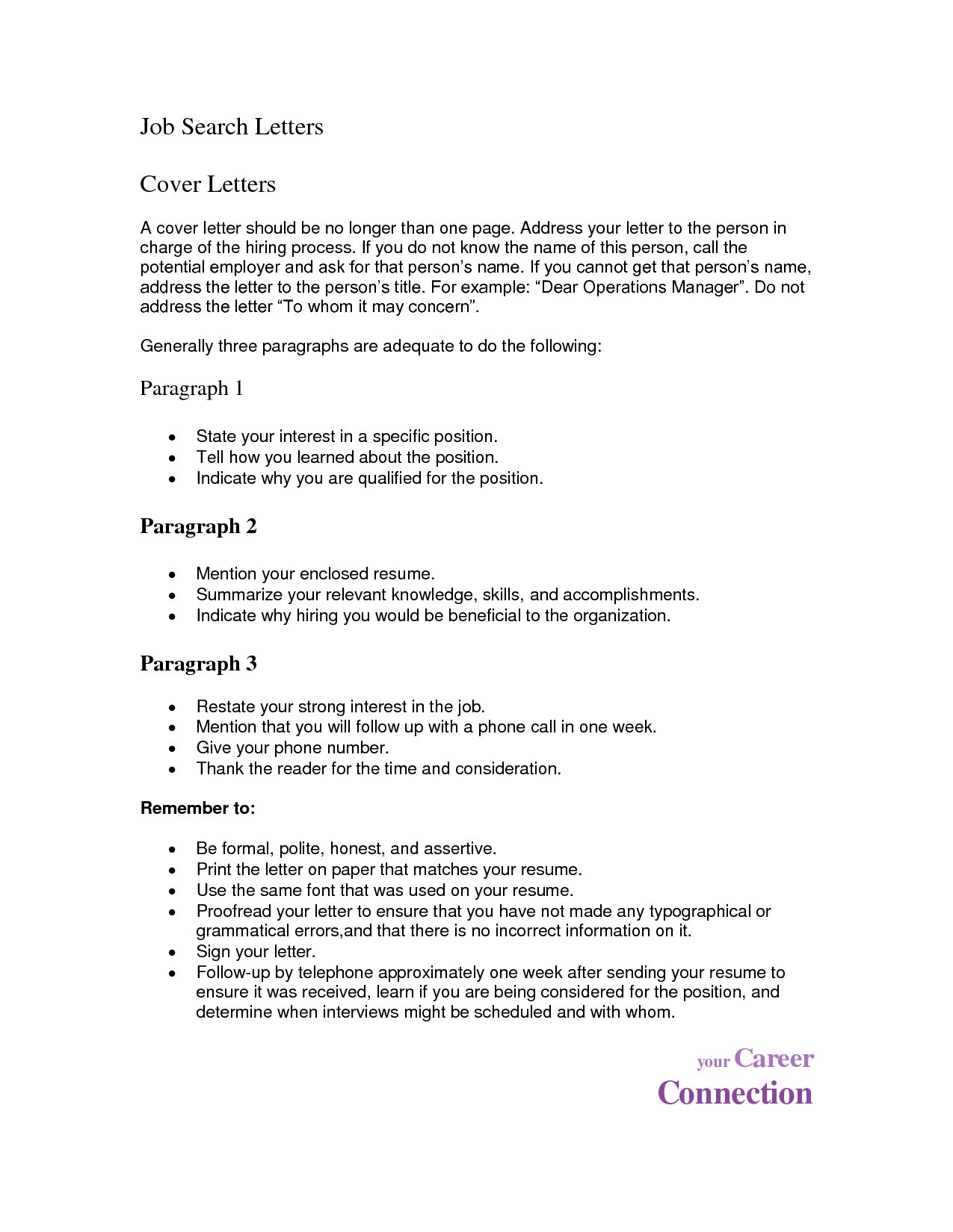 Chronological Resume Sample 1 One page resume