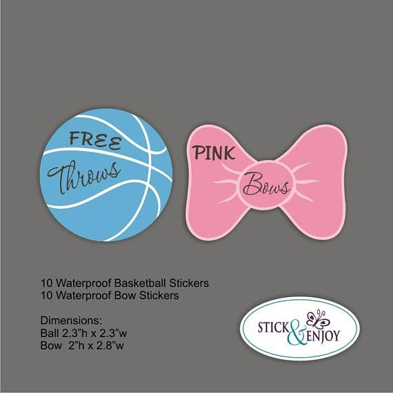 20 Gender Reveal Party Stickers Free Throws Or Pink Bow