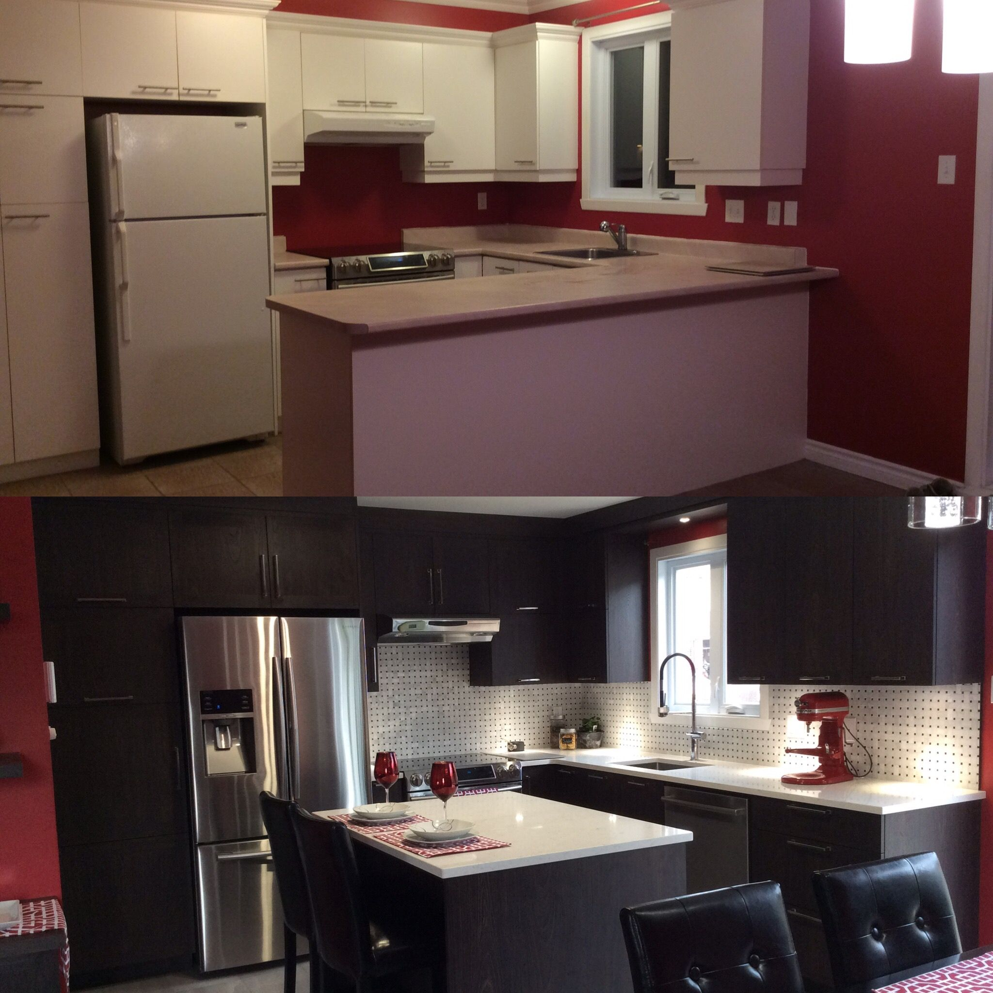 Before and after on kitchen remodel