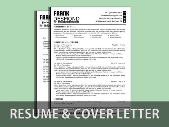 resume cv template  instant download  microsoft word  resume  u0026 cover letter word template