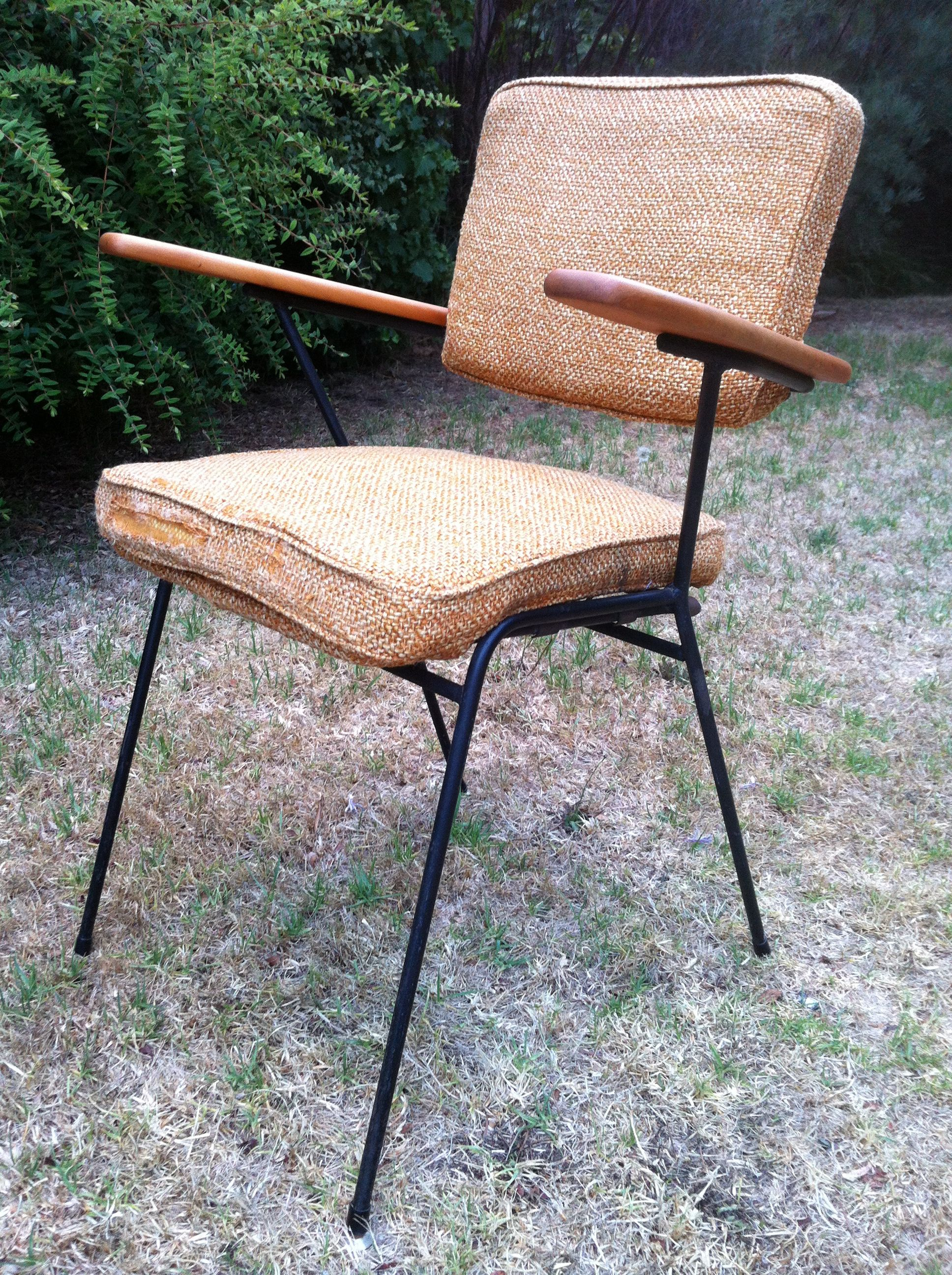 Fler TVS iron rod chair designed by Fred Lowen original upholstery
