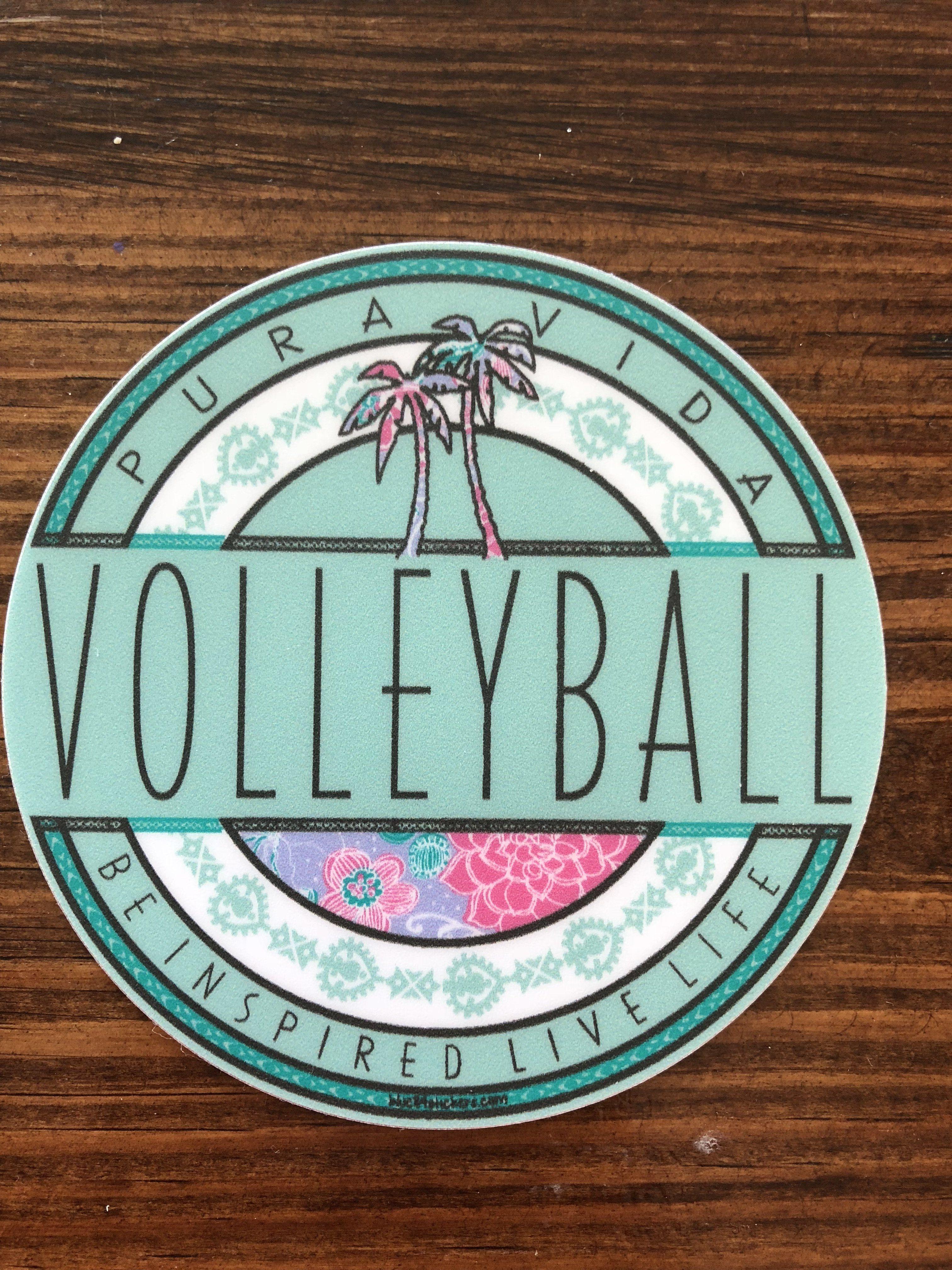 Pura Vida Volleyball Round Sticker Preppy Stickers Hydroflask Stickers Iphone Stickers