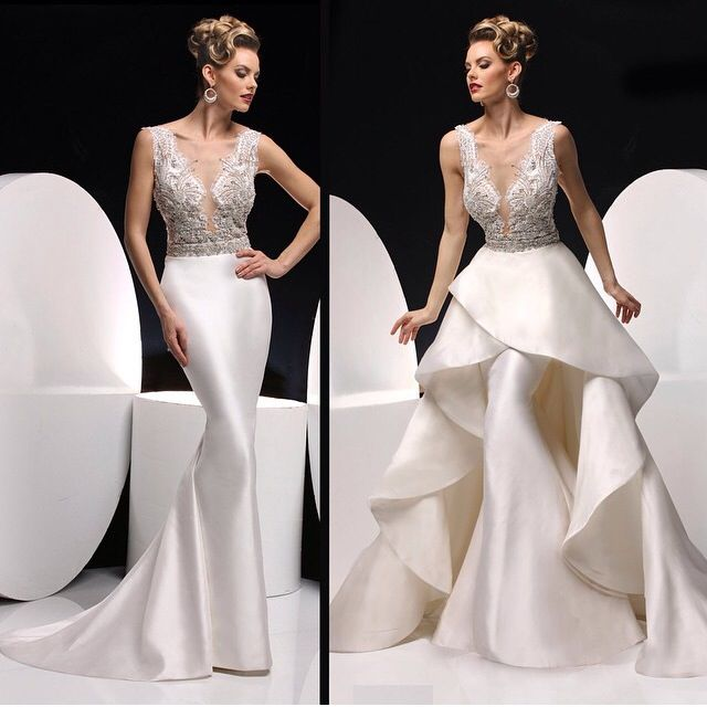 Detachable skirt wedding dress convertible dress happy for Detachable train wedding dress