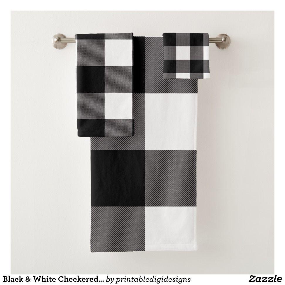 Black White Checkered Squares Buffalo Plaid Bath Towel Set