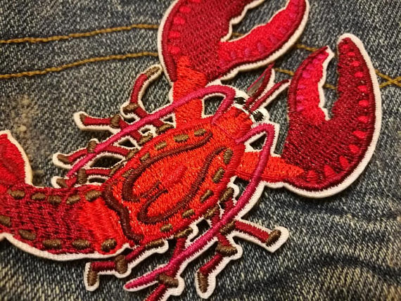 Red anchor nautical patch s large sailor appliqué new old
