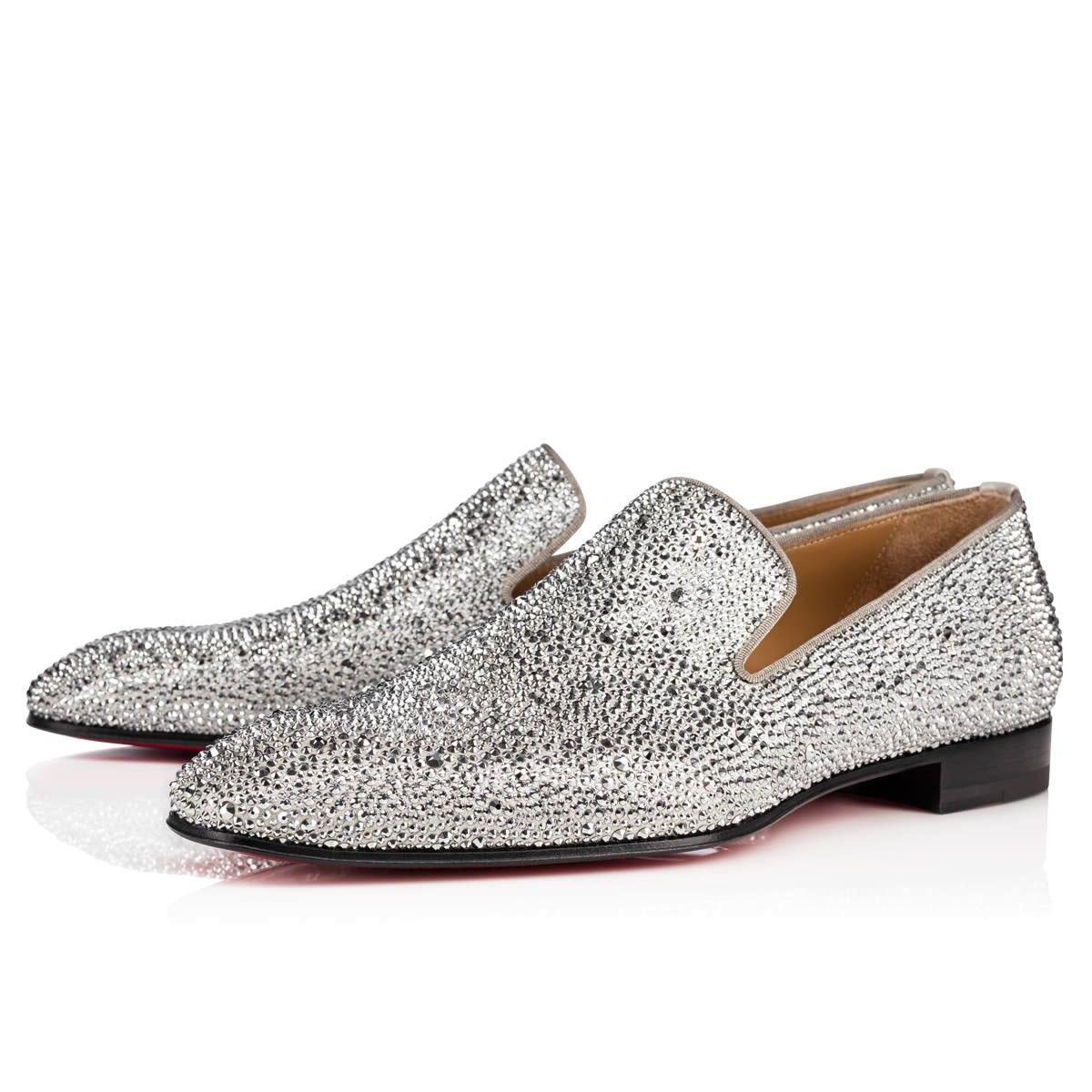 398823506023 CHRISTIAN LOUBOUTIN Dandelion Strass Flat Suede Burma Gg Version Silver  Strass - Men Shoes - Christian Louboutin.  christianlouboutin  shoes