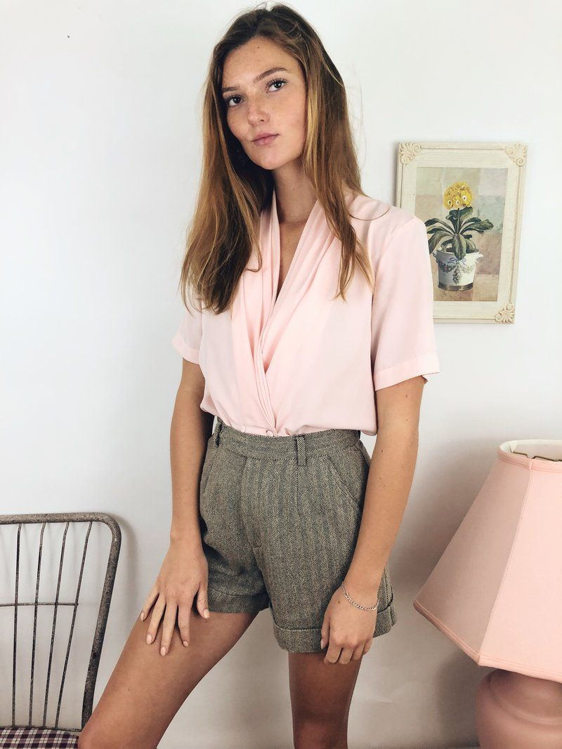 a805926d143 Baby Pink Double Breasted Blouse. Stunning and effortless short sleeve  blouse in