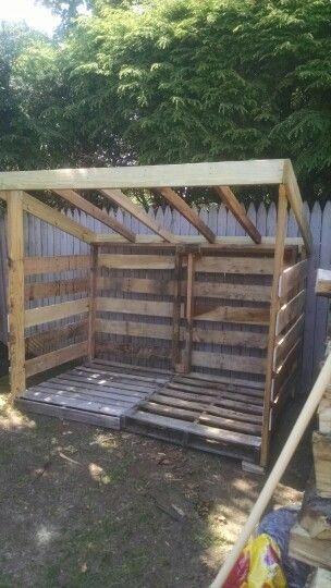 Pallet Wood Shed Buildashed Abri Bois De Chauffage Cabane Jardin Palettes Hangar A Bois