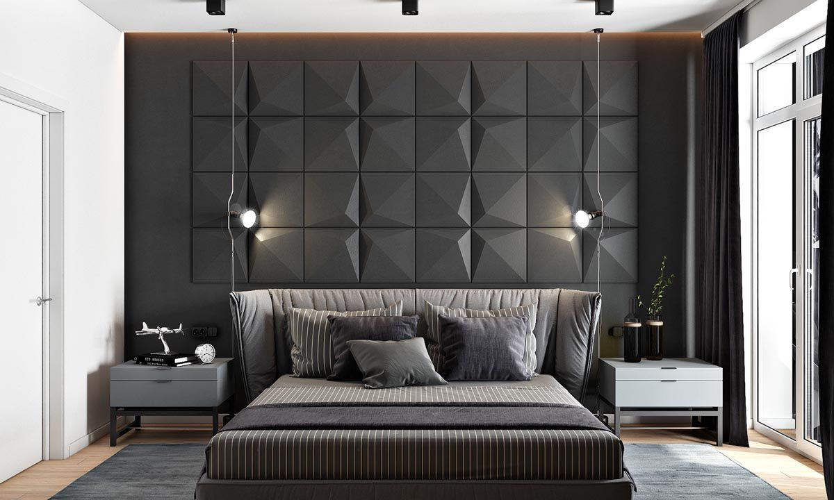 2 Masculine Interiors In Shades Of Grey Black Brown Bedroom Interior Bedroom Styles Accent Wall Bedroom