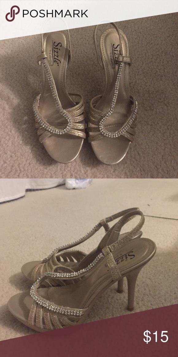 Formal Heels Worn one time. Beautiful formal heels. Gold. Shoes Heels
