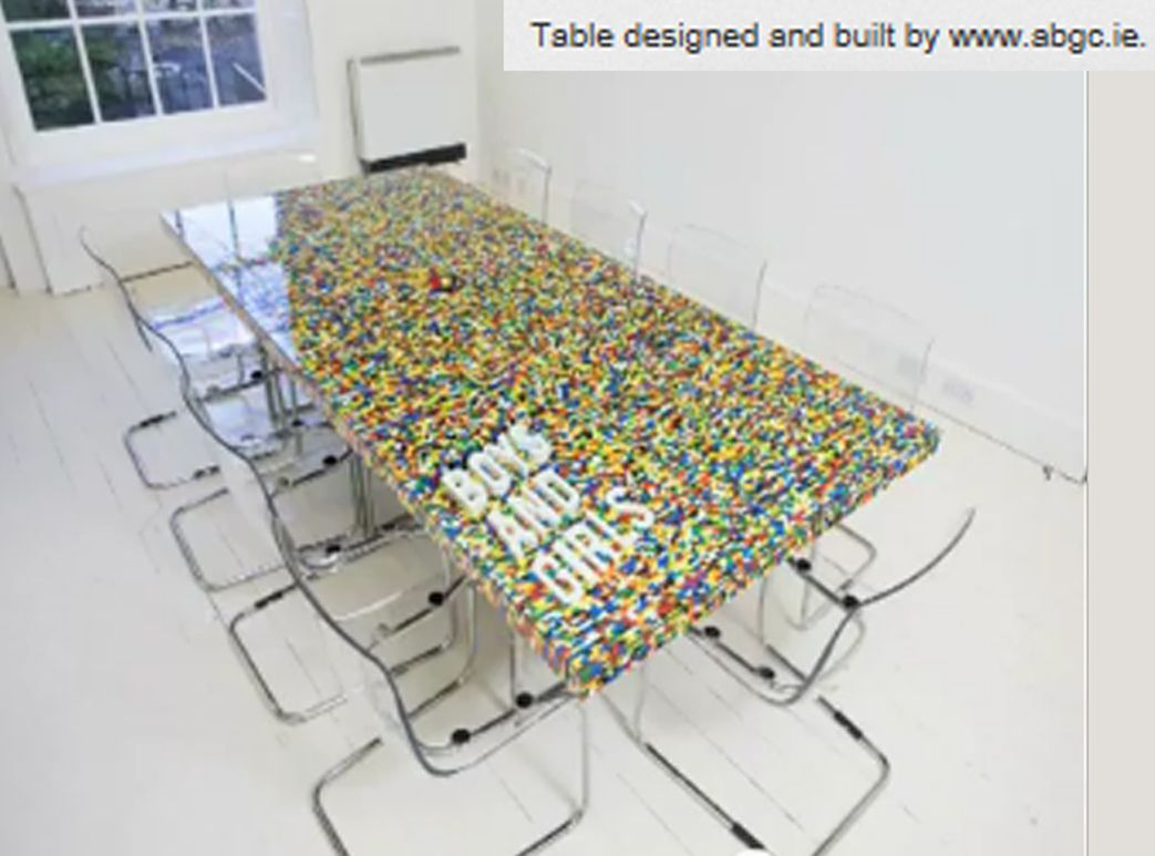 Not a product, per se, but you could make your own...... Conference table made of Legos!  Watch the video and see how the table was made: http://www.youtube.com/watch?v=kuUcVmJbQqI  Posted to the Chicago Toy and Game Fair's Facebook page by Anna van Slee.  Source: www.boysandgirls.ie