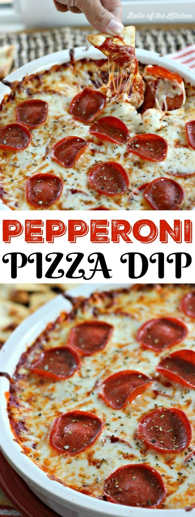 Pepperoni Pizza Dip #dipsandappetizers