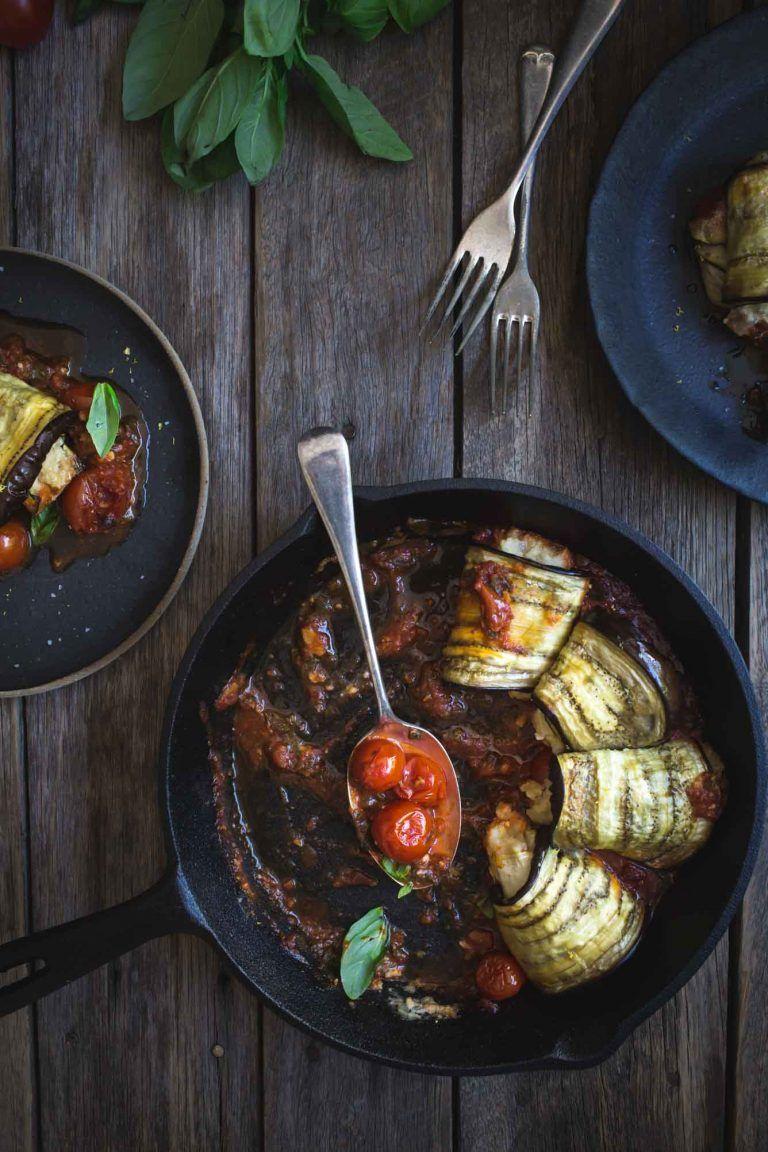 Vegan Eggplant Involtini With Sweet Onion Ricotta Recipe Vegan Eggplant Sweet Onion Side Recipes