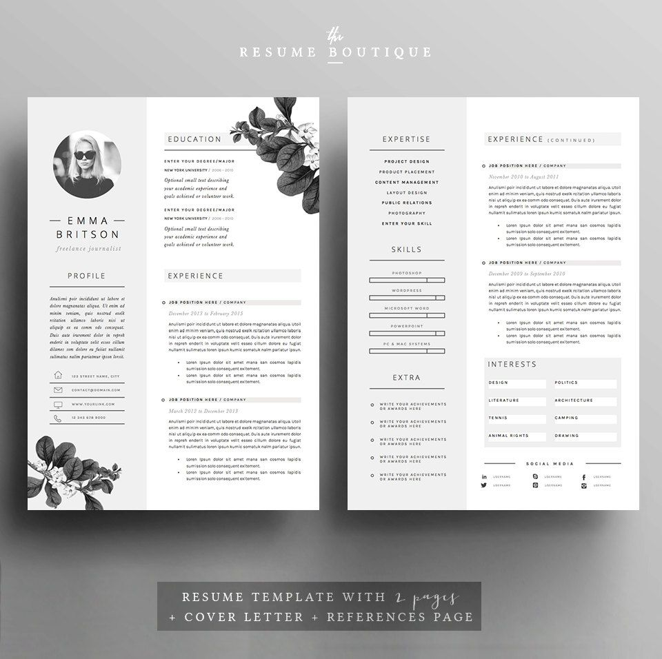 Resume Template 5 pages | CV Template + Cover Letter + References ...
