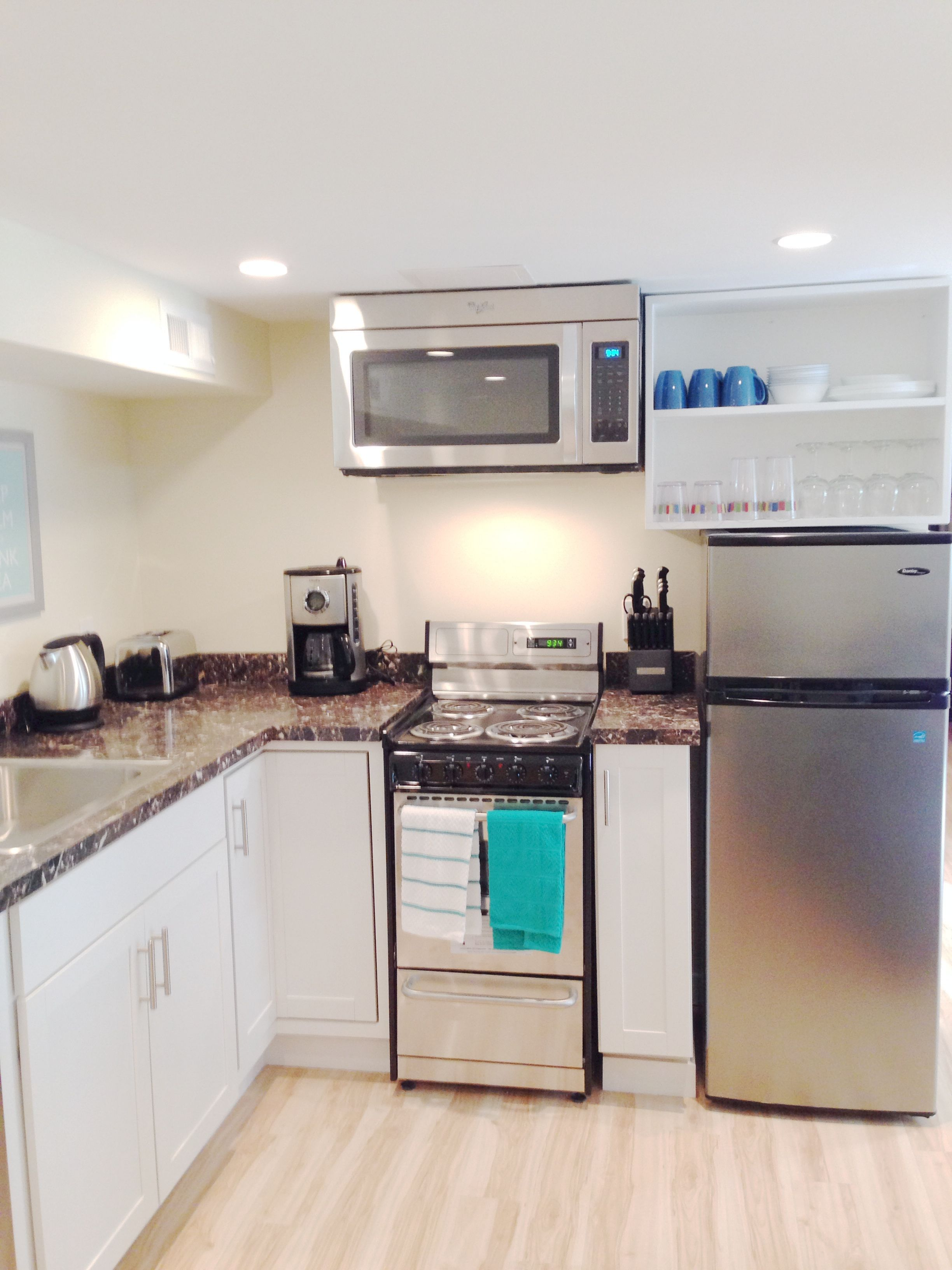 Kitchenette. Small Kitchen Design. Mini Appliances. Seattle Basement Remodel.  Vacation Rental.