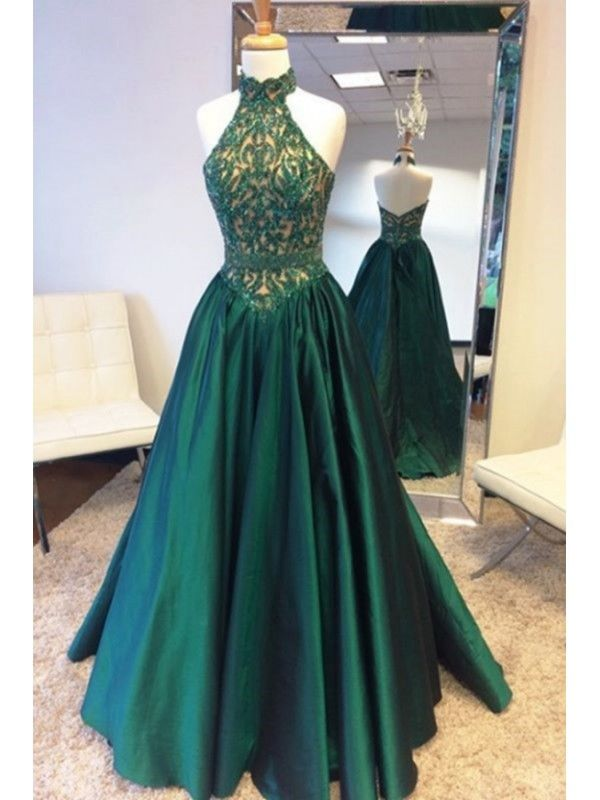 552b16b578 Olive Green Sleeveless Long Prom Dress