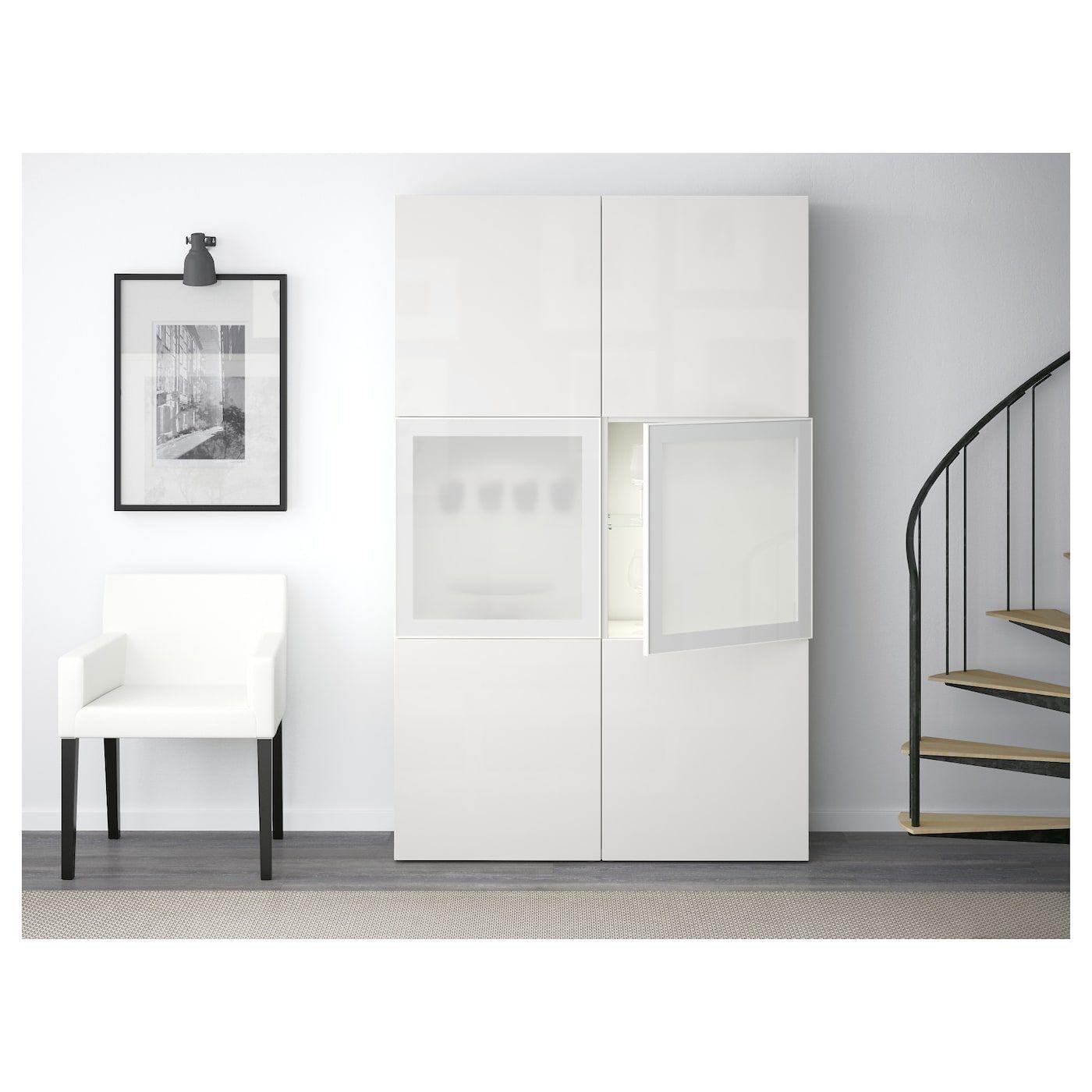 Besta Storage Combination W Glass Doors White Selsviken High