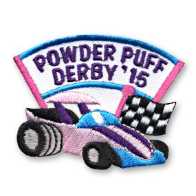 POWDER PUFF DERBY Iron On Patch Girls Vehicles Racing Competition
