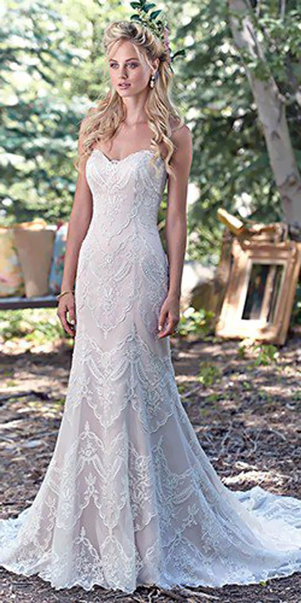 Maggie Sottero Vintage Sweetheart Lace Wedding Dress Deer Pearl - Romantic Lace Wedding Dress