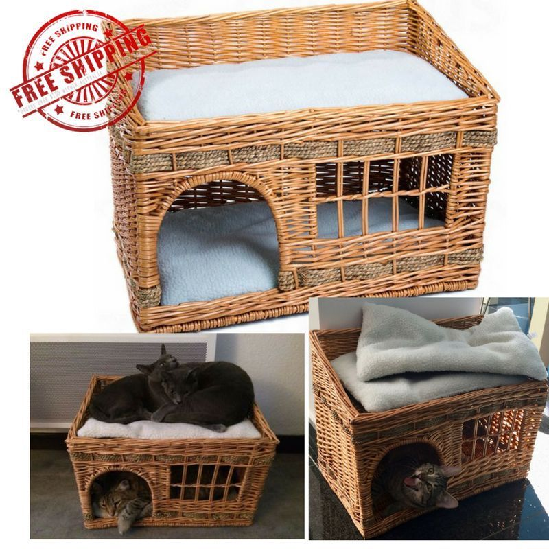 Two Tier Den Bed House Pueblo Wicker Woven Small Dog Cat Pet Basket Cushions