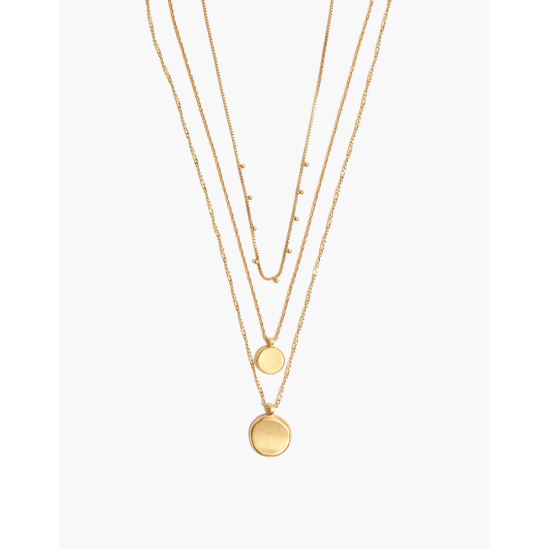 Madewell coin layered pendant necklace set gold in jewels