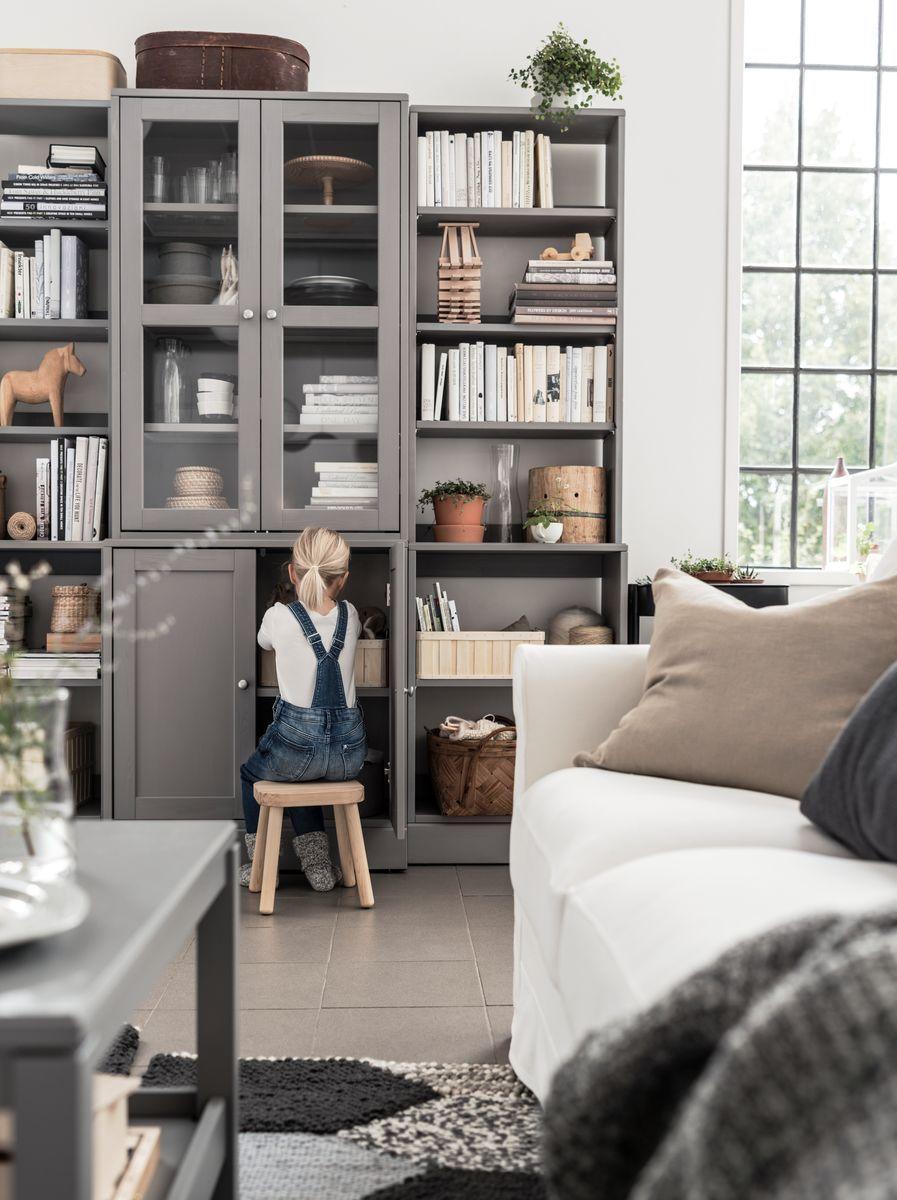 Havsta Storage Combination W Glass Doors Grey Ikea Switzer