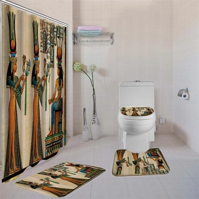 Dafield 4 Pcs African American Women Shower Curtain Bath Rug Sets