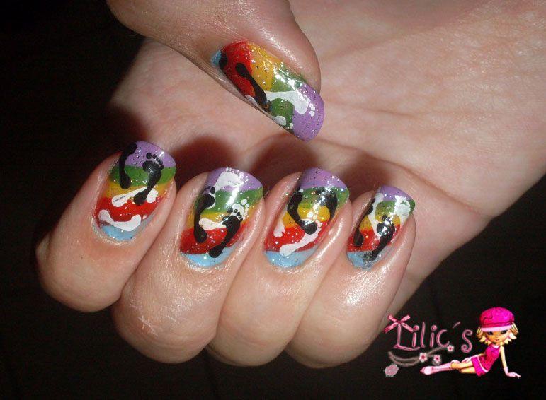 rainbow footprint nail art