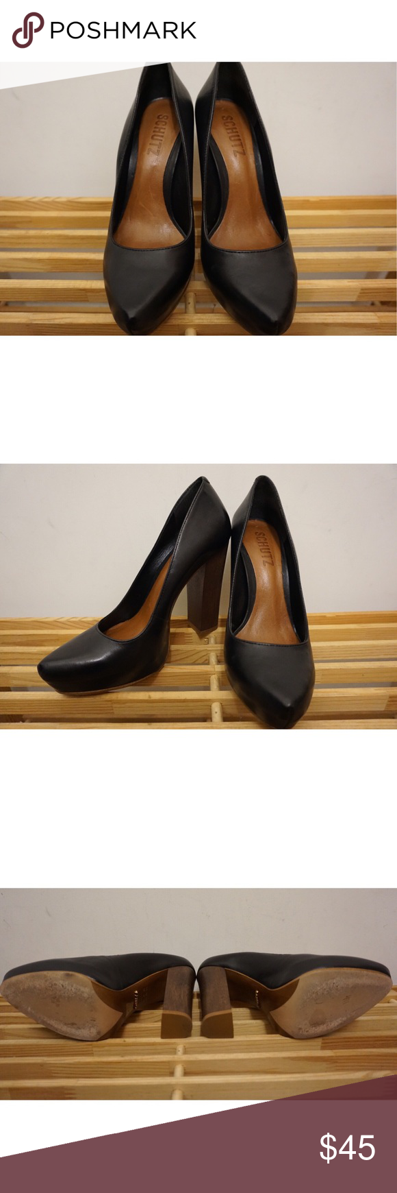 SCHUTZ Platform Heels - Black SCHUTZ heels in black - color goes with anything and can dress up or dress down any outfit. Block heel and platform. Lightly worn. These are a US Size 8, but are too snug on me - fit is closer to a US Size 7.5. SCHUTZ Shoes Heels
