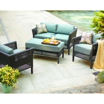 Fenton 4 Piece Patio Seating Set With Peacock And Java Cushions D9131 4pckd At The Home Depot Patio Seating Sets Patio Furniture Sets Patio Cushions