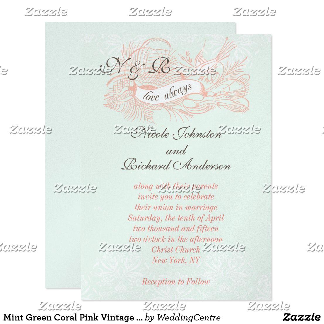 Mint Green Coral Pink Vintage Wedding Invitation | Vintage wedding ...