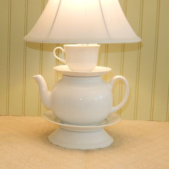 Classic White Teapot Lamp, Tea Cup and Scalloped Saucers, Alice in Wonderland Inspired    A teapot lamp we made using a classic round glossy white