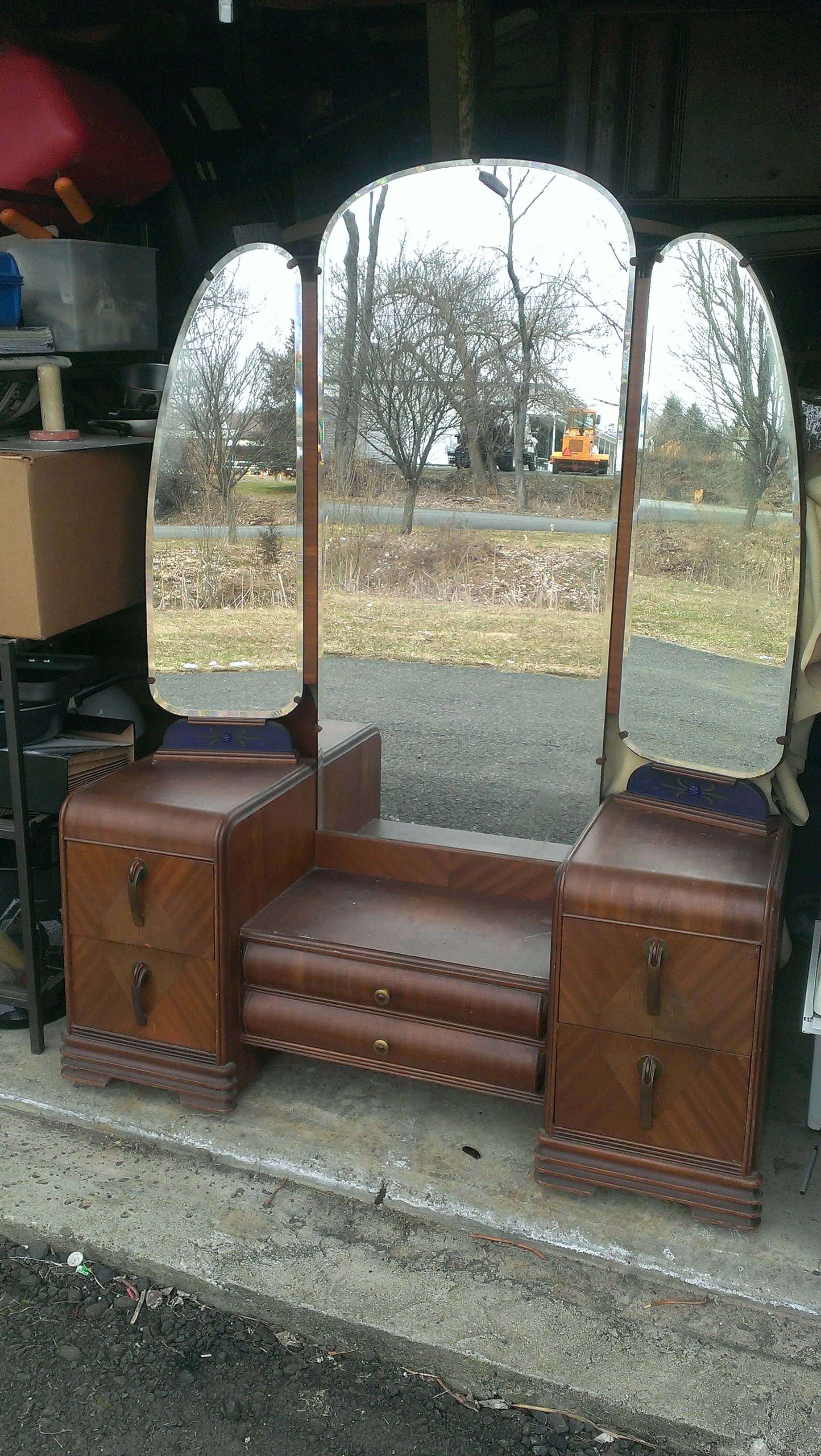 1930 S Waterfall Bedroom Set Available From Urban Renewal Home Goods We Have A Dresser Armoire Vanity Headboard And Footoard