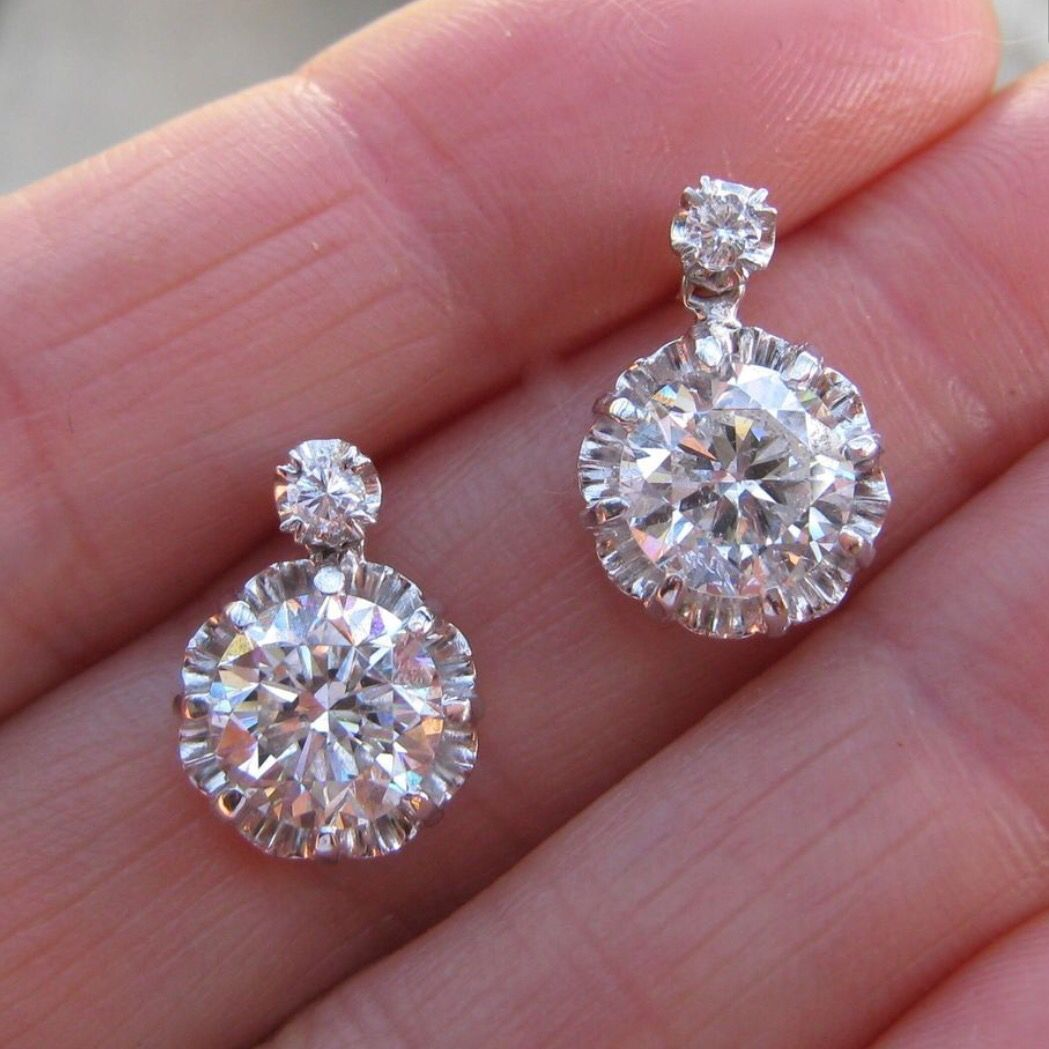 Diamond Drop Earrings Mom