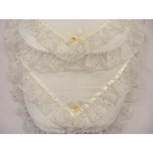 BEAUTIFUL FOOTMUFF  ROMANY  STYLE   BLING  COLOUR  WHITE PRAM  COSYTOES