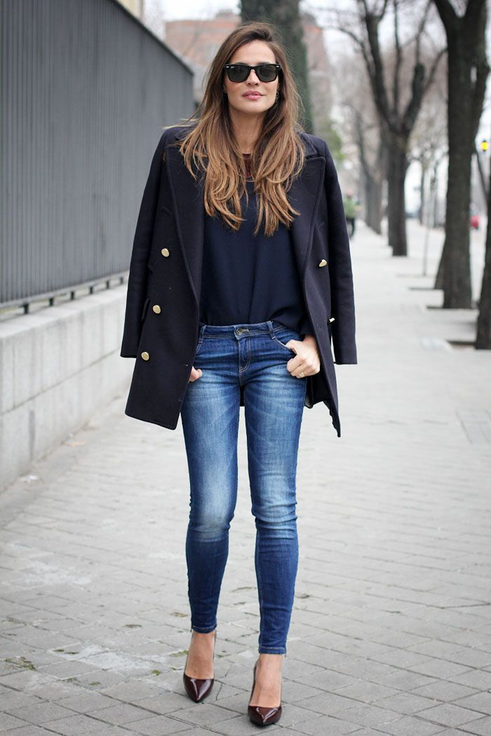 short navy coat | More Navy coat ideas