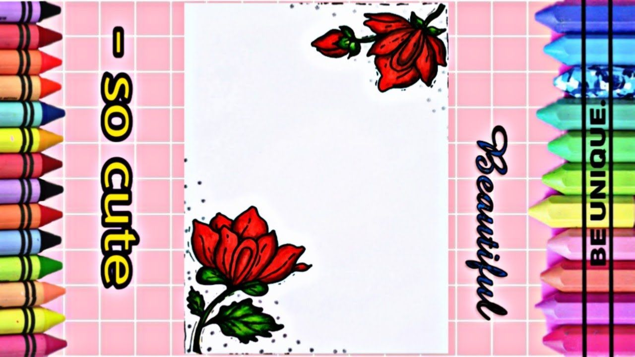 Drawing To Decorate Notebook Red Roses تعليم الرسم تزيين دفاتر مد Decorate Notebook Red Roses Drawings