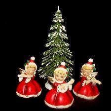 f20263415ae 3 NAPCO ViNTaGe ANGeLGIRL Figurines w Tree Hats Holly Flute Banjo Violin