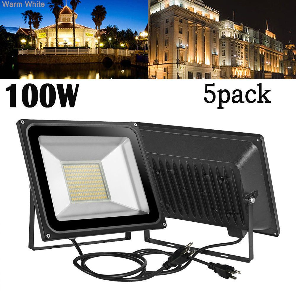 5x 100w Led Flood Light 110v Warm White Outdoor Garden Yard Spotlights Us Plug Flood Lights Led Flood Outdoor Garden Lighting