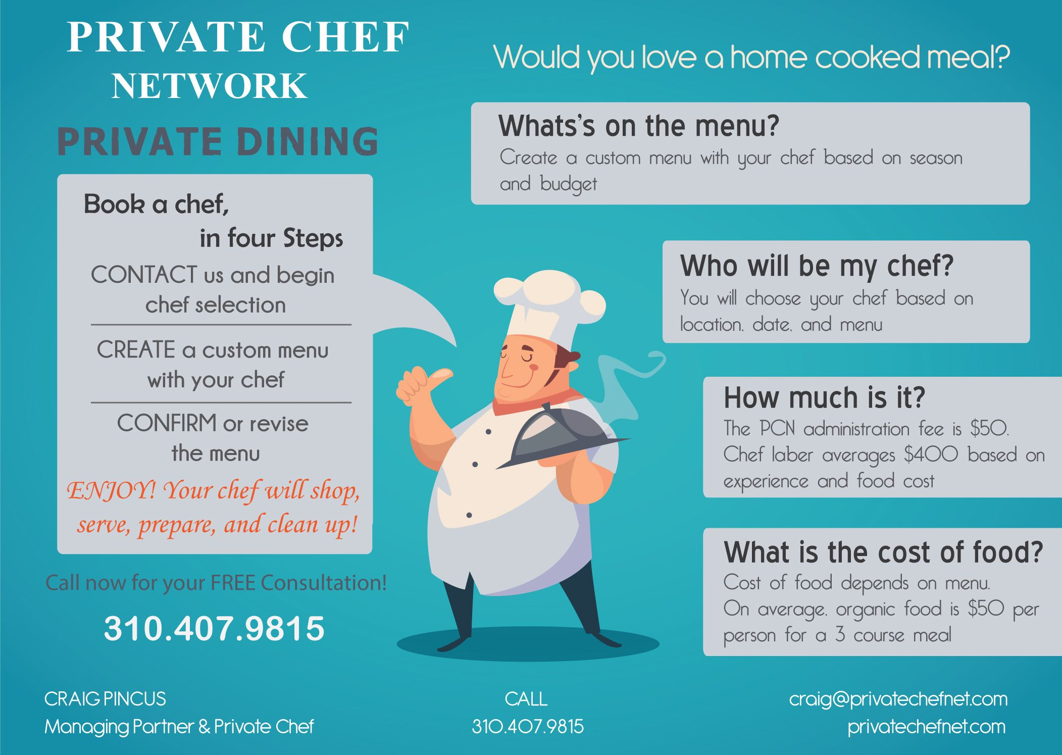 Book a #PersonalChef for your #Home or #Estate with the Private Chef ...