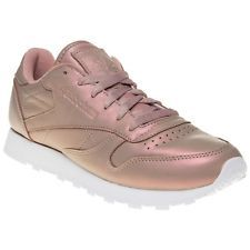 New Womens Reebok Pink Metallic Classic Leather Pearlized