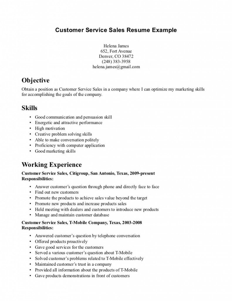 Great Good Resume Examples For Customer Service With Customer Service Example Resume